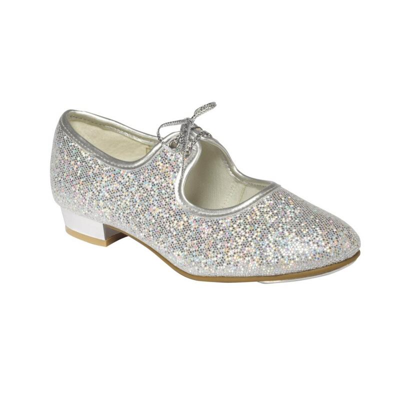 25030a3b6cea Silver Hologram Glitter Low Heel Tap Shoes - Dancewear Universe
