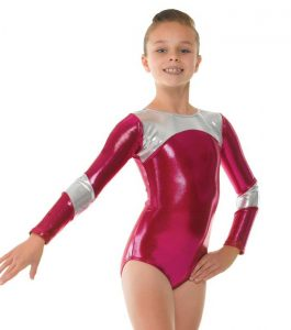 Tappers and Pointers Pomegranate with Platinum Shine Long Sleeve Gymnastics Leotard