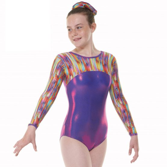 Tappers & Pointers GYM 55 Purple and Rainbow Gymnastic Leotard