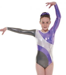 Tappers & Pointers Gym 42 Grey and Lilac Long Sleeve Gymnastic Leotard