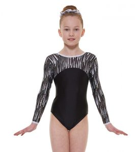 Tappers & Pointers Gym 46 Black Long Sleeve Gymnastic Leotard