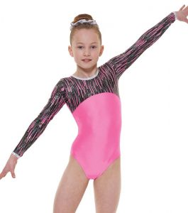 Tappers & Pointers Gym 46 Fluorescent Pink Long Sleeve Gymnastic Leotard