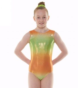 Tappers & Pointers Gym 47 Ombre Orange Green Gymnastic Leotard