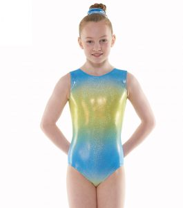 Tappers & Pointers Gym 47 Ombre Yellow Blue Gymnastic Leotard