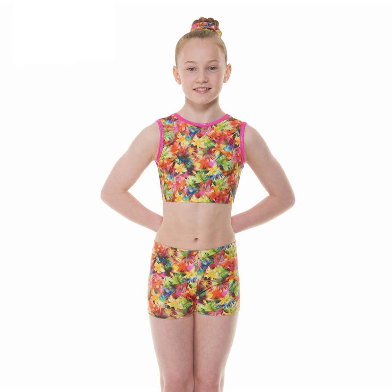 ba9e20492 Pink Tropical Fantasy Patterned Shine Nylon Lycra Gymnastic Shorts ...