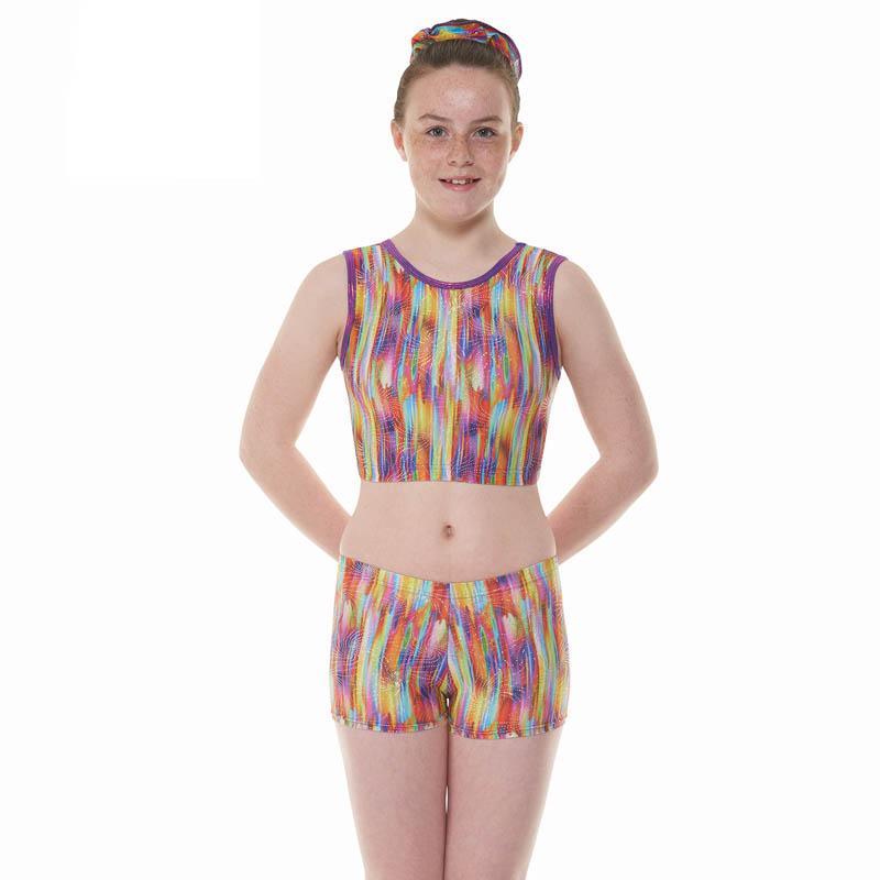 Purple Streaky Rainbow Patterned Shine Nylon Lycra Gymnastic Crop ... 44d2fd49003
