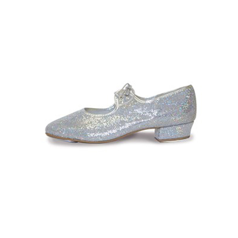 604bfcf3cc5 Roch Valley Silver Glitter Low Heel Tap Shoes - Dancewear Universe