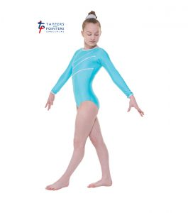 Aqua Long Sleeve Leotard with Detail