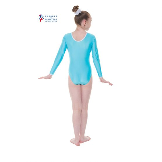Aqua Long Sleeve Leotard with Detail Back