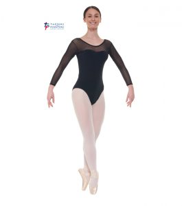 Black Three Quarter Sleeve Sparkle Leotard