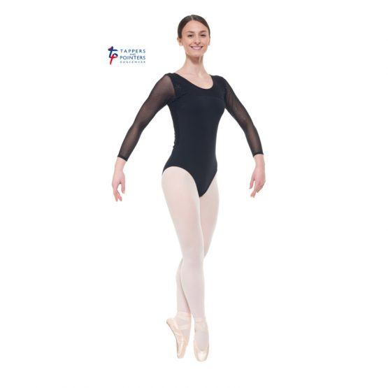 Black Three Quarter Length Sparkle Back Leotard