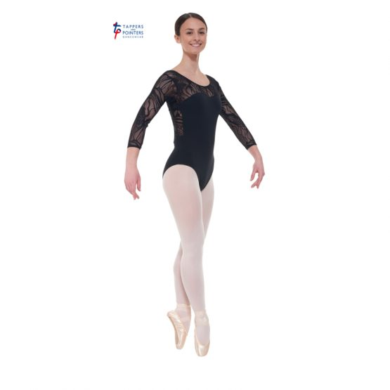 Black Three Quarter Sleeved Leotard