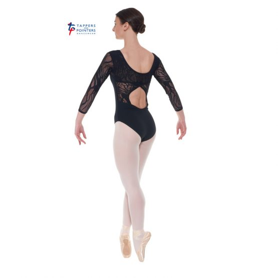 Black Three Quarter Sleeved Leotard Back