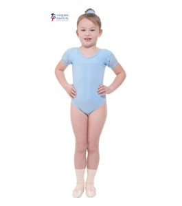 Blue Capped Sleeve Leotard with Lace