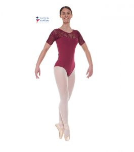 Burgundy Short Sleeve Lace Leotard