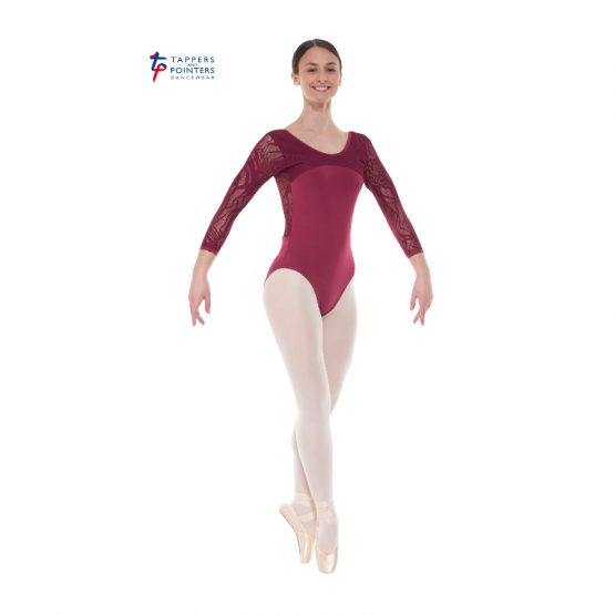 Burgundy Three Quarter Length Lace Back Leotard