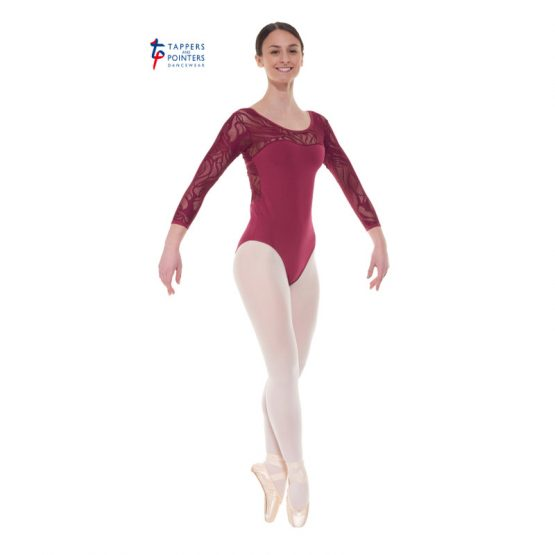 Burgundy Three Quarter Sleeved Leotard