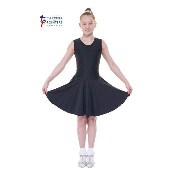 Latin Length Black Sleeveless Ballroom Dress