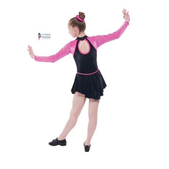 Long Sleeve Velvet Dress Black and Electric Pink Back