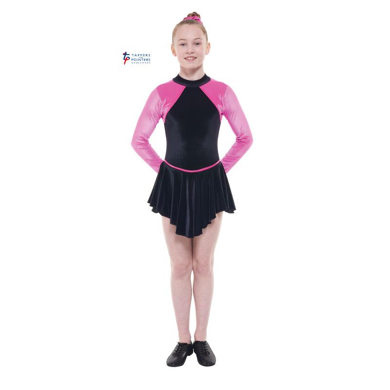 Black and Apple Velvet Long Sleeve Multi Purpose Dress With Keyhole Back -  Dancewear Universe