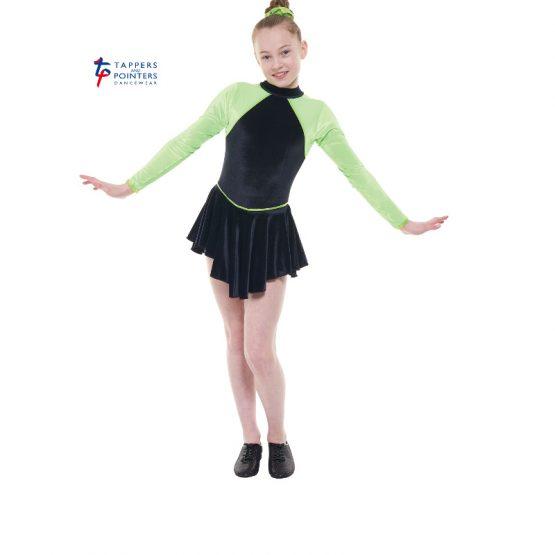 Long Sleeve Velvet Dress Black and Flo Apple