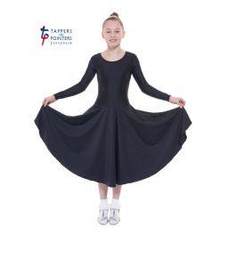 Longer Length Black Long Sleeve Ballroom Dress