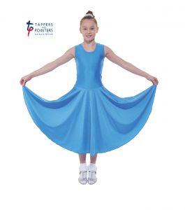 Longer Length Cornflower Sleeveless Ballroom Dress
