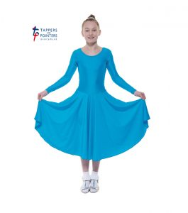 Longer Length Kingfisher Long Sleeve Ballroom Dress