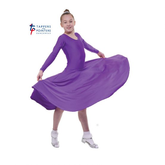 Longer Length Purple Long Sleeve Ballroom Dress