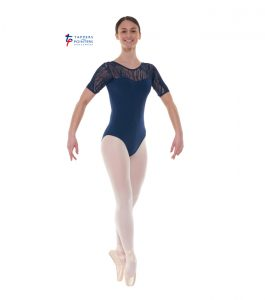 Navy Short Sleeve Lace Leotard