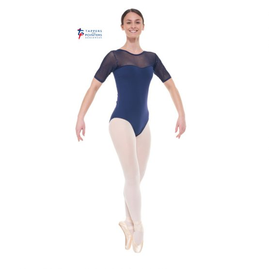 Navy Short Sleeve Sparkle Leotard