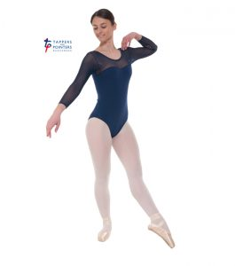 Navy Three Quarter Sleeve Sparkle Leotard