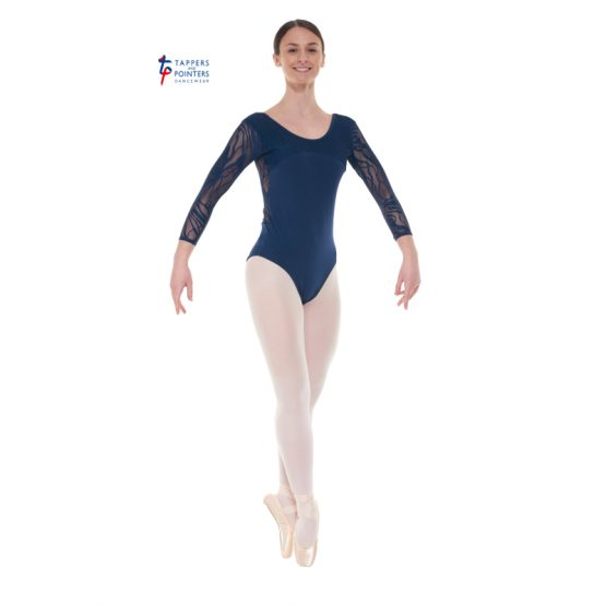 Navy Three Quarter Length Lace Back Leotard