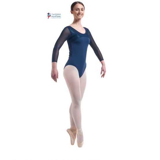 Navy Three Quarter Length Sparkle Back Leotard