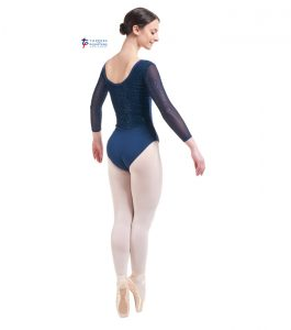 Navy Three Quarter Length Sparkle Back Leotard Back