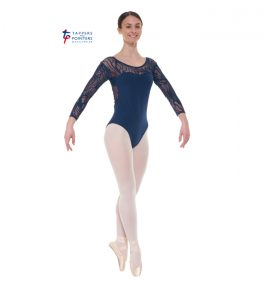 Navy Three Quarter Sleeved Leotard