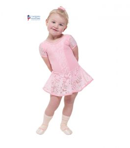 Pink Capped Sleeeve Dress with Lace