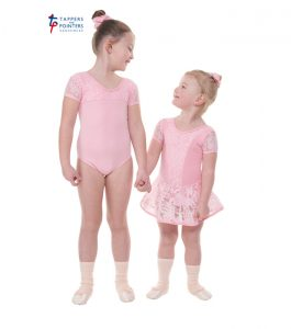 Pink Capped Sleeve Leotard with Lace