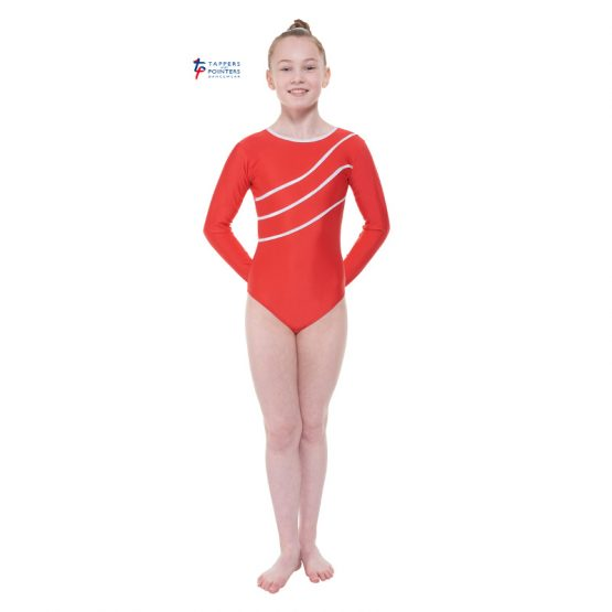Red Long Sleeve Leotard with Detail