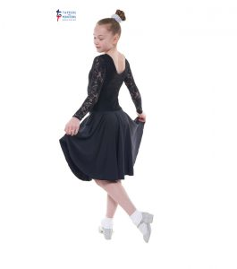 Standard Length Black Long Sleeve Ballroom Dress with Lace