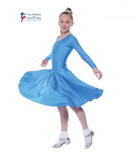 Standard Length Cornflower Long Sleeve Ballroom Dress