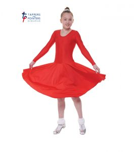 Standard Length Red Long Sleeve Ballroom Dress