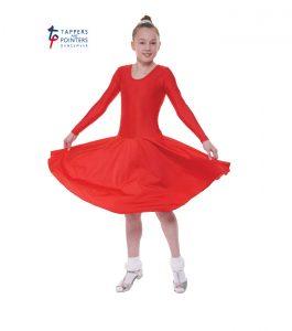 Standard Length Red Long Sleeve Ballroom Dress