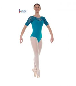 Teal Short Sleeve Lace Leotard