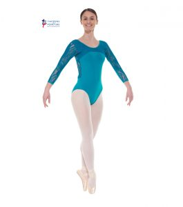 Teal Three Quarter Length Lace Back Leotard