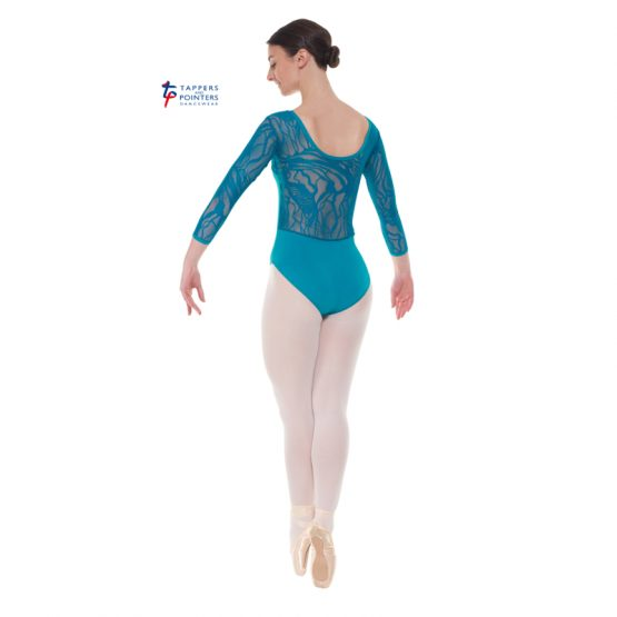 Teal Three Quarter Length Lace Back Leotard Back