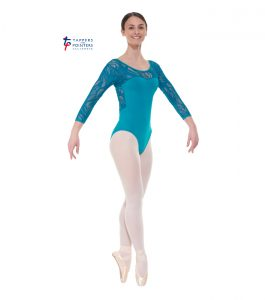 Teal Three Quarter Sleeved Leotard
