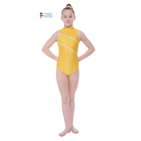 Yellow Turtle Neck Leotard with Detail