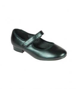 Black PU Tap Shoe Velcro Fitting Low Heel